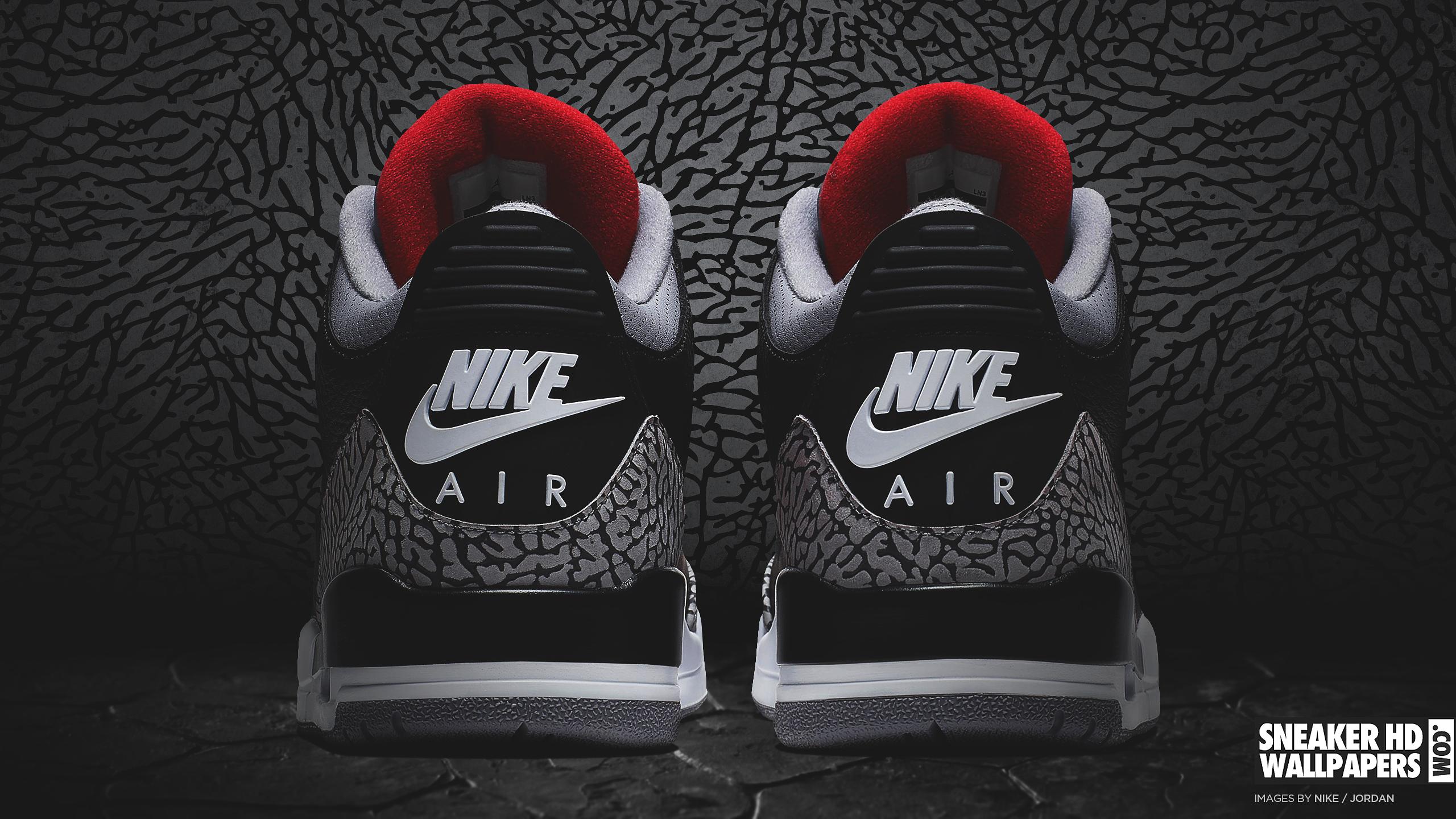Air Jordan 3 Fond Décran Noir Et Blanc Rouge